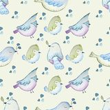 BIRDS SEAMLESS REPEAT PRINT PATTERN TILE. COUNTRY STYLE IN WATERCOLORS stock illustration