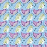 BIRDS SEAMLESS REPEAT PRINT PATTERN TILE. COUNTRY STYLE IN WATERCOLORS royalty free illustration