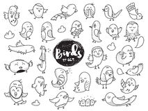 Birds set. Hand drawn characters. Vector doodles. Stock Photography