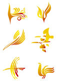 Birds set yellow. Set icons of birds in different styles Stock Image