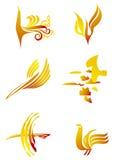 Birds set yellow Stock Image