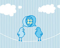 Birds sharing and tweeting / Social media dialog. Cartoon illustration of two users sharing subject Stock Photography