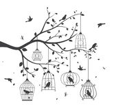 Birds silhouette with tree and birdcage Stock Image