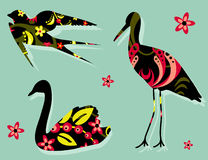 Birds silhouettes floral pattern khokhloma Royalty Free Stock Image