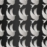 Birds silhouettes - flying seamless pattern. Dove with pattern vector.  Royalty Free Stock Images