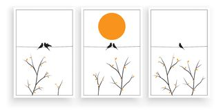 Free Birds Silhouettes On Wire On Sunset / Sunrise With Branches Illustration, Vector. Minimalist Art Work, Three Pieces Poster Design Stock Images - 162083324