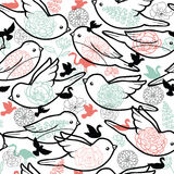 Birds silhouettes seamless pattern background Stock Images