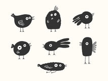 Birds silhouettes set. Vector illustration Stock Image