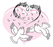 Birds sing a song of love. Illustration on a white background Vector Illustration