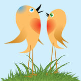 Birds sing a spring song. Royalty Free Stock Photography