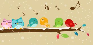 Birds singing on the branch Royalty Free Stock Photography