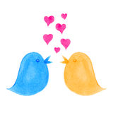 Birds Singing Love Hearts Dating Concept. Blue and yellow hand-painted birds and love hearts. Ties in with concepts of romance, affection, loving and online Royalty Free Stock Photography