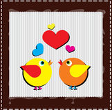 Birds are singing love song from hearts Stock Image