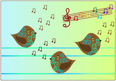 Birds singing song music. Vectors illustration Stock Illustration