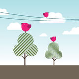 Birds singing on trees and powerlines. An illustration of three magenta birds singing atop of trees and powerlines on a bright sunny summer day Royalty Free Stock Images