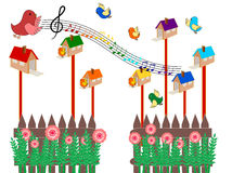 Birds singing Vector Royalty Free Stock Images