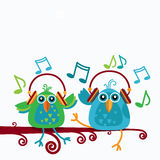 Birds Sitting On Branch Listen Music Wear Headphones Notes Royalty Free Stock Images