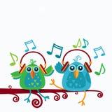 Birds Sitting On Branch Listen Music Wear Headphones Notes royalty free illustration