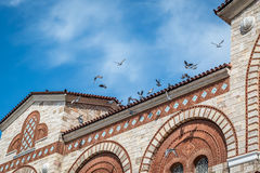 Birds sitting and flying over a stone building Royalty Free Stock Photos