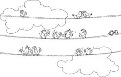 Birds Sitting on Rope Royalty Free Stock Photos