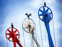 Tanker terminal. Birds sitting on a tanker terminal for oil products Royalty Free Stock Photo