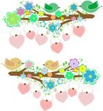 Birds sitting on tree branch with love heart Stock Images