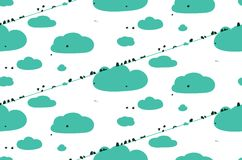 Birds Sitting on Wires in Clouds Seamless Pattern Royalty Free Stock Photos
