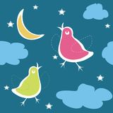 Birds on the sky in night Stock Images