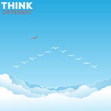 Birds in the sky. Think different concept. One bird outside the v formation Royalty Free Stock Photos