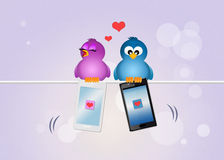 Birds with smartphones. Cute illustration of birds with smartphones on wire Royalty Free Stock Photo