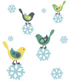 Birds and snowflakes Stock Images