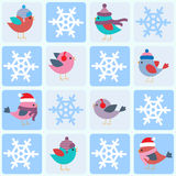 Birds and snowflakes Stock Photo