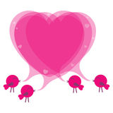 Birds with speech bubble heart. Vector illustration Stock Photos