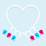 Birds with speech bubble heart. Vector illustration Stock Photo