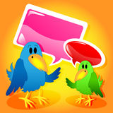 Birds with speech bubbles Stock Photo