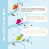 Birds with speech bubbles Royalty Free Stock Images