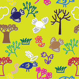 Birds and spring trees seamless. Birds and spring trees multicolour seamless Stock Image