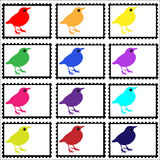 Birds on Stamps Set. Stamps set of colorful birds on white background, vector Stock Photo