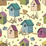 Birds and starling houses background Stock Photos