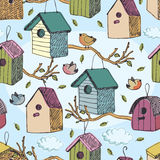 Birds and starling houses pattern. Birds and starling houses, blue sky and clouds Royalty Free Stock Photos