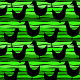 Birds on a striped green seamless background Royalty Free Stock Image