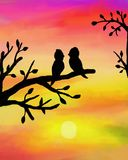 Birds at sunset. Birds on branch at sunset - watercolor painting royalty free illustration