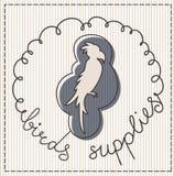 Birds supplies label. Birds supplies calligraphic handwritten label Stock Image