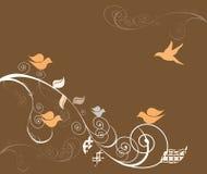 Birds on swirly trees Stock Images
