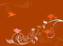 Birds on swirly trees Royalty Free Stock Image