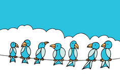 Birds on Telephone Wire Royalty Free Stock Photography