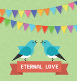 Birds and text banner eternal love, flags, garlands. Vector illustration for saint valentine day, birthday, holiday Stock Images
