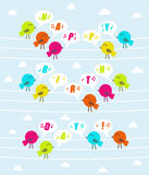 Birds with text Happy birthday Royalty Free Stock Photography
