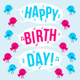 Birds with text Happy birthday Royalty Free Stock Image