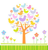 Birds on a tree. Vector illustration of a tree Stock Photography